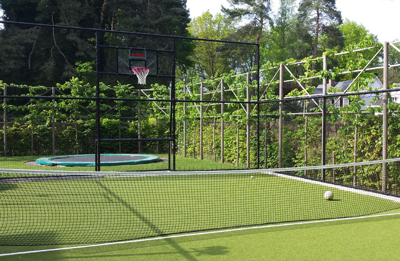 Knotless tennis nets for singles courts Netten
